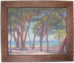 French Pointillist Mediterranean Seascape Oil on Canvas Painting by Louis Azais