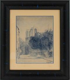 Notre Dame de Paris Cathedral Blue Watercolor Painting by M. Godier