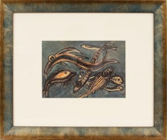 The Fishes Gouache on Paper Painting by J. Blot