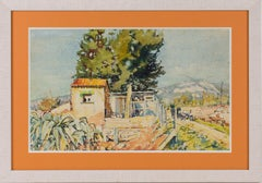 Landscape in Provence Watercolor on Paper Painting by Francois Pascal
