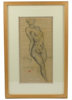 French Nude Female Pencil Study Drawing by Marie Louise Simard