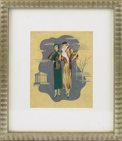 French Art Deco Fashion Illustration Ink & Gouache Drawing by Edouard Halouze