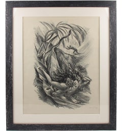 Art Deco Fantasy Charcoal Drawing Lithograph Print by Adolf Uzarski