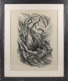 Art Deco Fantasy Charcoal Drawing Lithograph Print by Adolf Uzarski