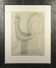 The Rooster, Charcoal Drawing by Etienne Poirier