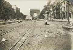 Works in The Champs Elysées Paris  - Silver Gelatin Black and White Photograph