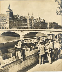 Paris, The Riverbank Booksellers  - Black and White Original Photograph Postcard