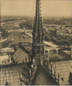 Notre Dame Cathedral in Paris  - Black and White Original Photograph Postcard