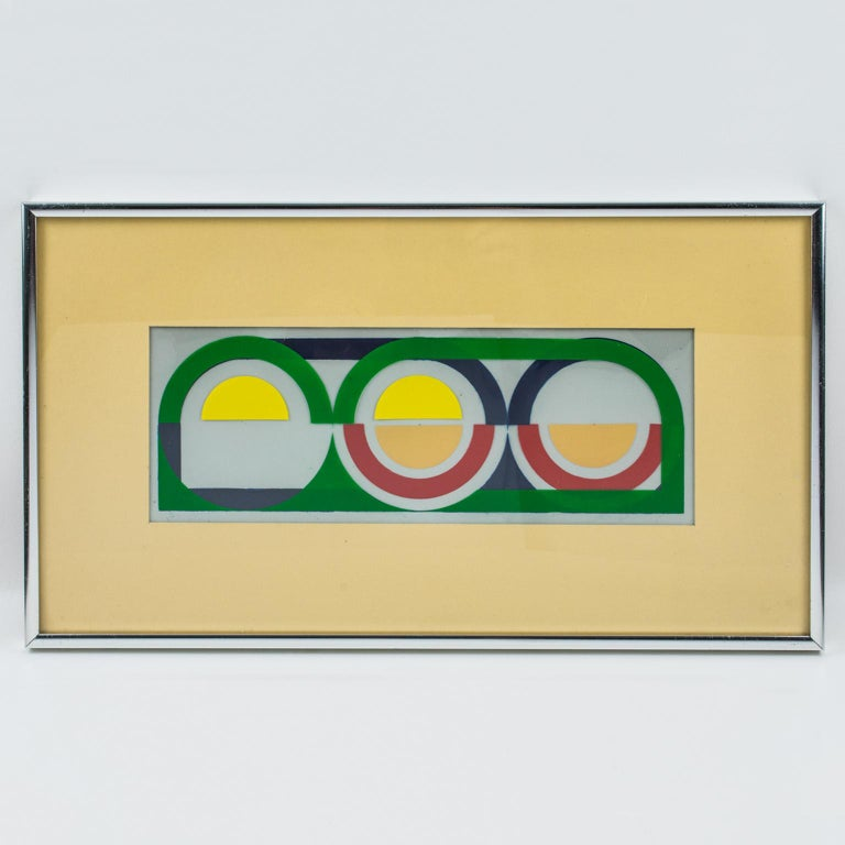 Multicolor Geometric Painting by Donna Filler, a triptych For Sale 12