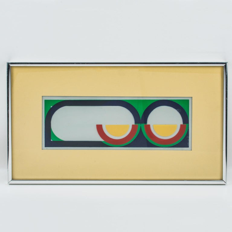 Multicolor Geometric Painting by Donna Filler, a triptych For Sale 11