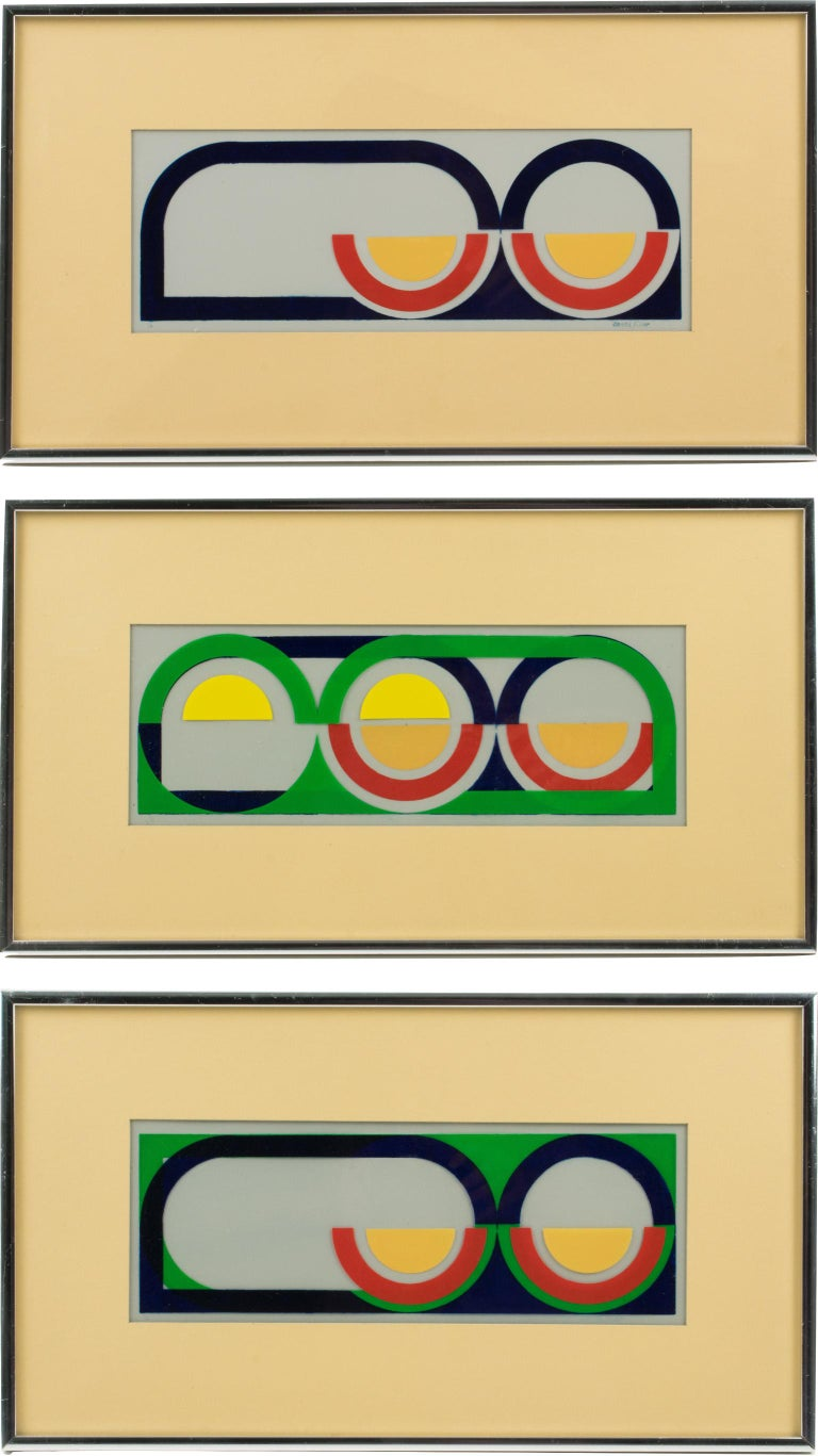 Original colorful acrylic paint on clear paper paintings, a matching triptych, by American artist Donna Filler (USA, 20th Century). Each painting is signed on the bottom right corner and each painting is also numbered 1-2-3 out of 3. Very