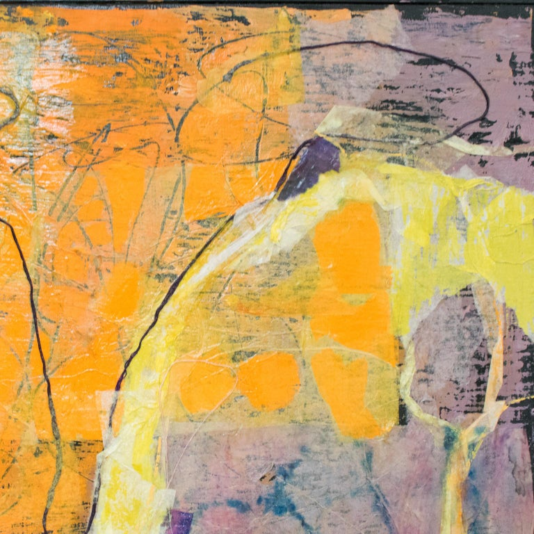 Mid Century Colorful Collage Abstract Painting by Edith Ferullo For Sale 7