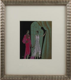 Original French Art Deco Gouache Illustration Drawing by J. Hilly
