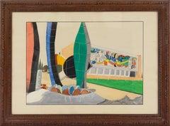 Fernand Leger Museum Building Gouache Painting