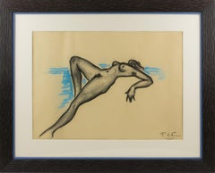 Female Nude Study Black and Blue Pencil Drawing by P. Chem