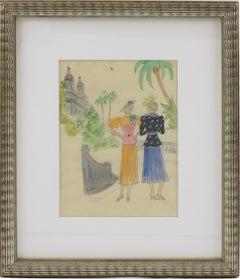 French Fashion Illustration Art Deco Watercolor Drawing by Edouard Halouze