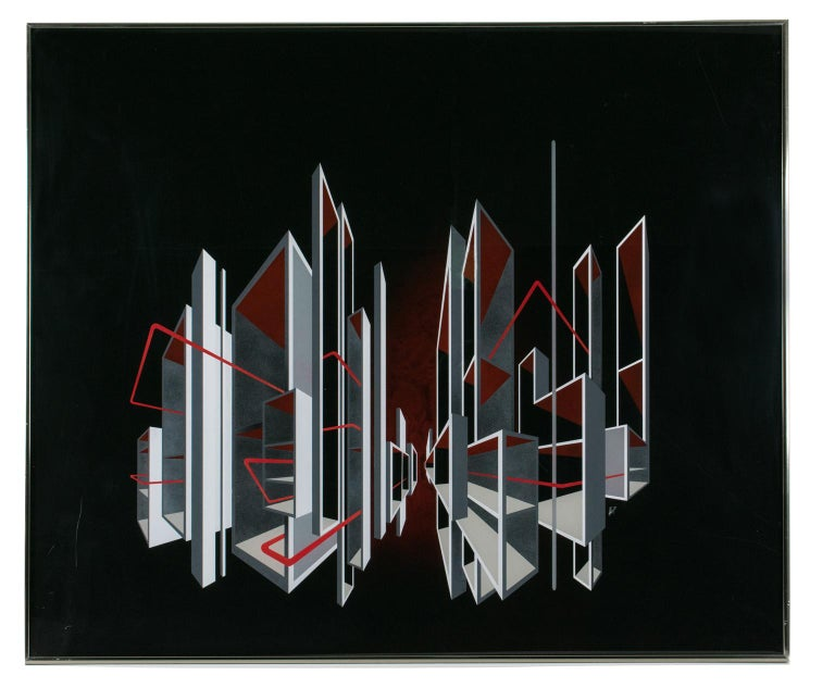 Red and Black Kinetic Optical Op Art Painting on Plexiglass by L.L. Long For Sale 3