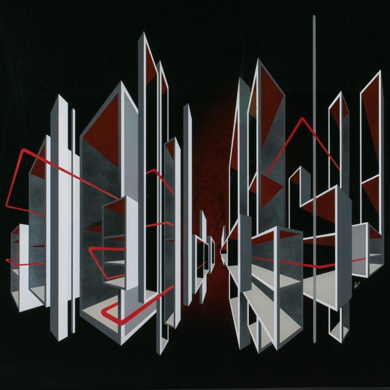 Red and Black Kinetic Optical Op Art Painting on Plexiglass by L.L. Long For Sale 7