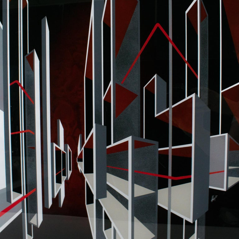 Red and Black Kinetic Optical Op Art Painting on Plexiglass by L.L. Long For Sale 9