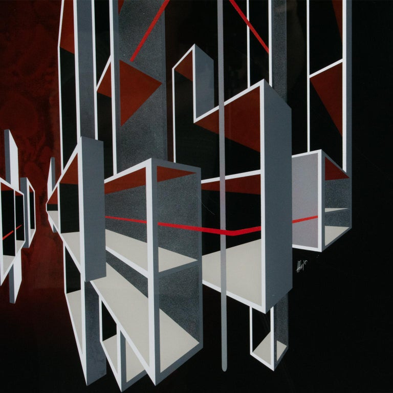 Red and Black Kinetic Optical Op Art Painting on Plexiglass by L.L. Long For Sale 4