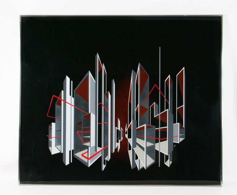 Red and Black Kinetic Optical Op Art Painting on Plexiglass by L.L. Long For Sale 6