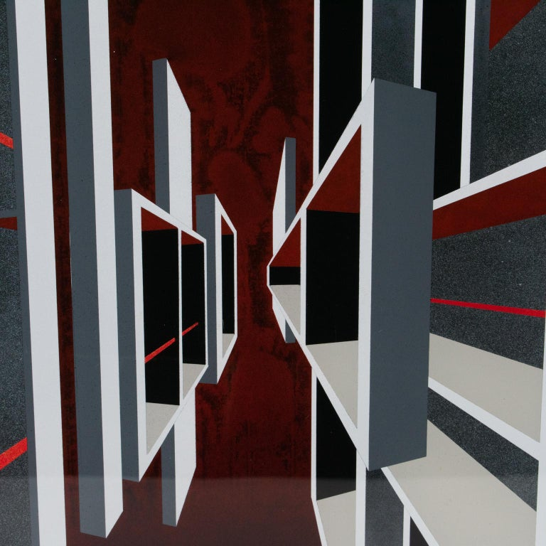 Red and Black Kinetic Optical Op Art Painting on Plexiglass by L.L. Long For Sale 8