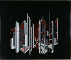 Red and Black Kinetic Optical Op Art Painting on Plexiglass by L.L. Long