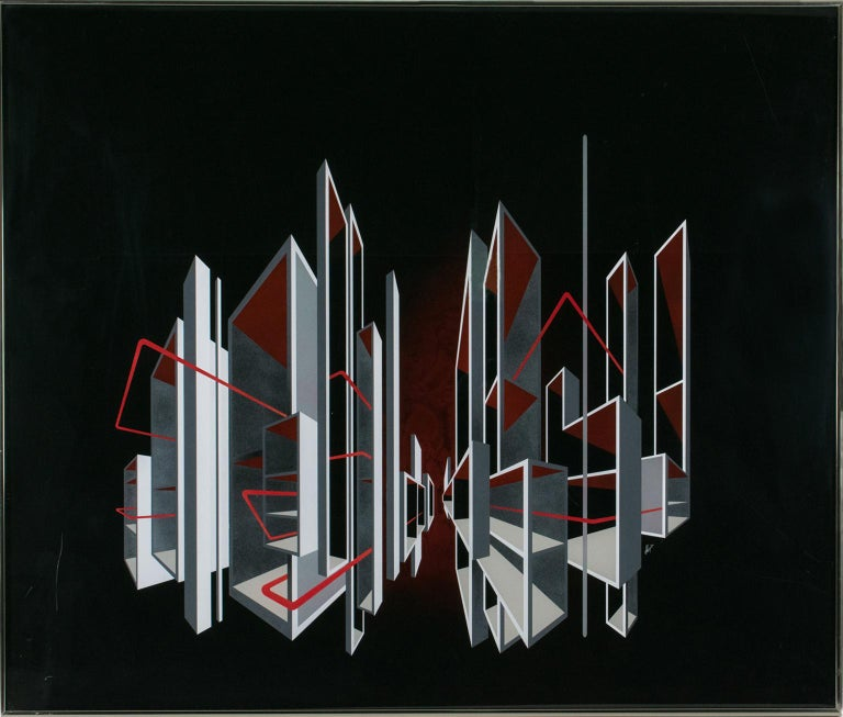 Red and Black Kinetic Optical Op Art Painting on Plexiglass by L.L. Long - Mixed Media Art by L. L. Long