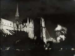 14th of July at Notre Dame de Paris Silver Gelatin Black & White Photograph