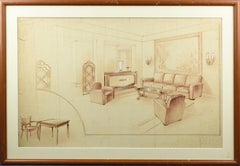 1940s French Interior Decoration Project Study by Maurice Dufrene Studio