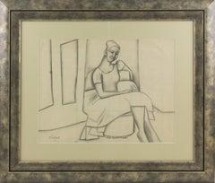 Cubist Woman Study Black Pencil Drawing by Wouyart