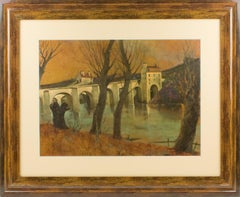 French Middle Age Vaulted Bridge Oil on Wood Painting by Vincent Mazzocchini