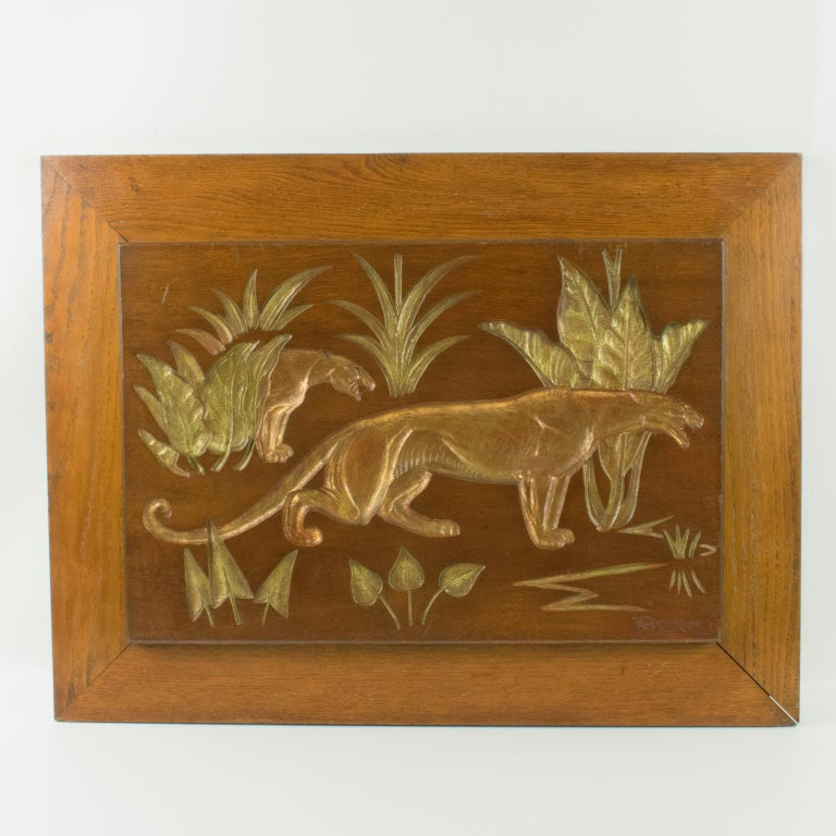 Art Deco Panthers in the Jungle Carved Gilt Wood Panel by N. R. Brunet For Sale 11