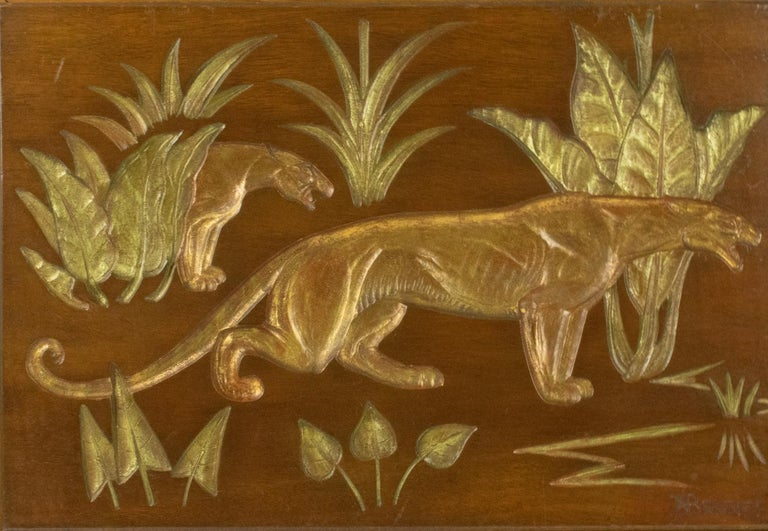 Art Deco Panthers in the Jungle Carved Gilt Wood Panel by N. R. Brunet For Sale 5