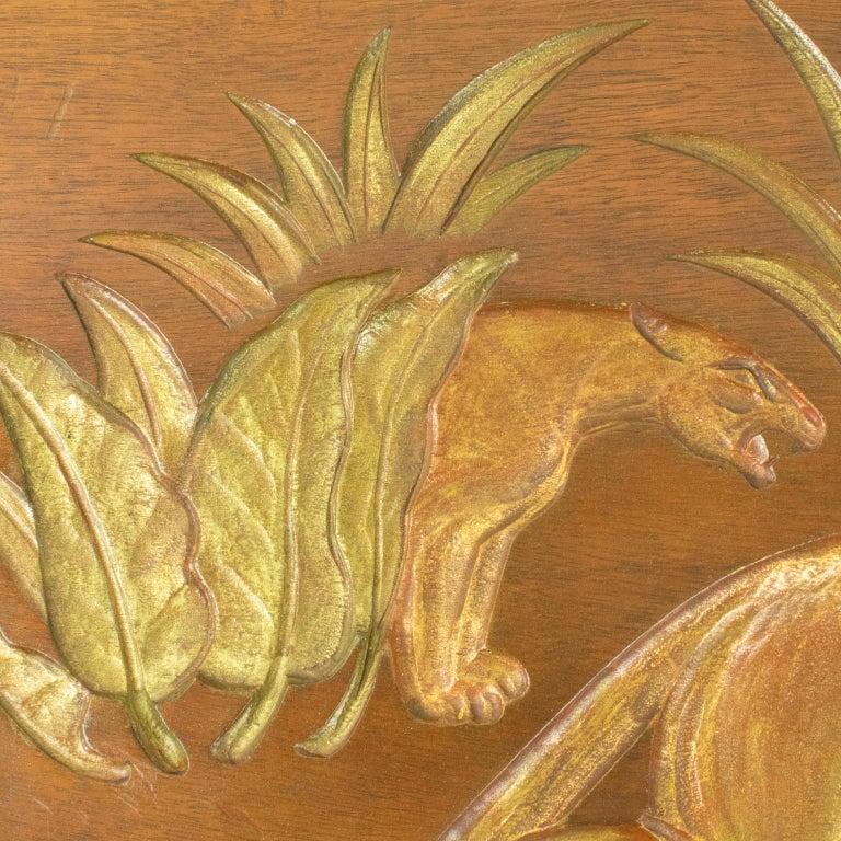 Art Deco Panthers in the Jungle Carved Gilt Wood Panel by N. R. Brunet For Sale 8