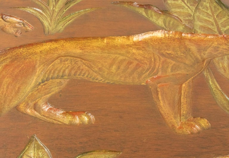Art Deco Panthers in the Jungle Carved Gilt Wood Panel by N. R. Brunet For Sale 9