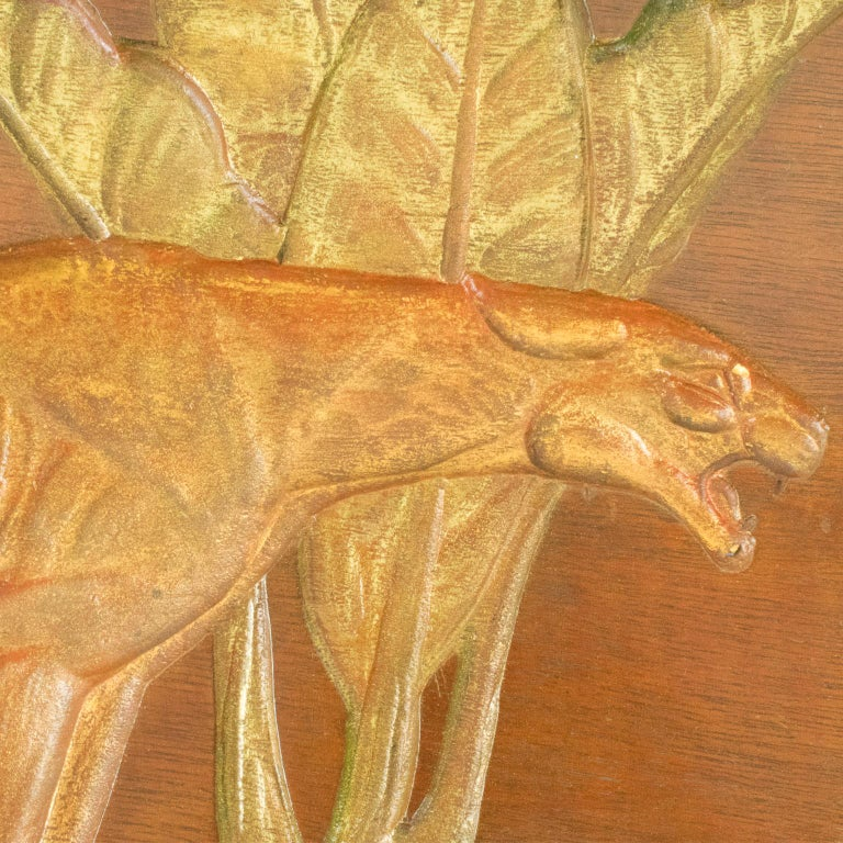Art Deco Panthers in the Jungle Carved Gilt Wood Panel by N. R. Brunet For Sale 10