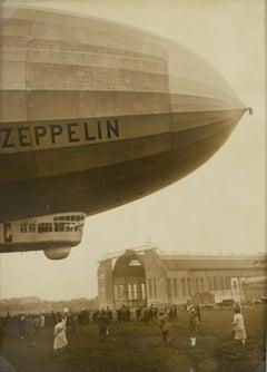 Departure of Zeppelin circa 1930 Silver Gelatin Black & White Photograph