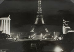 The Eiffel Tower by night 1937 Silver Gelatin Black & White Photograph