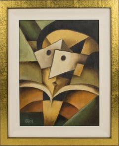 The Mask Cubist Oil on Board Painting by Jean Herbin