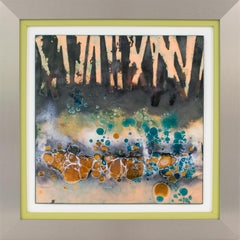 Abstract Judaica Enamel Mounted Wall Panel Plaque Artwork by George Welch