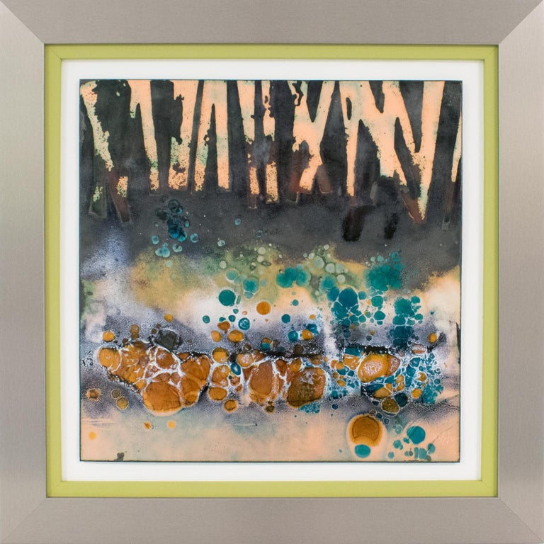Abstract Judaica Enamel Mounted Wall Panel Plaque Artwork by George Welch - Mixed Media Art by George F. Welch