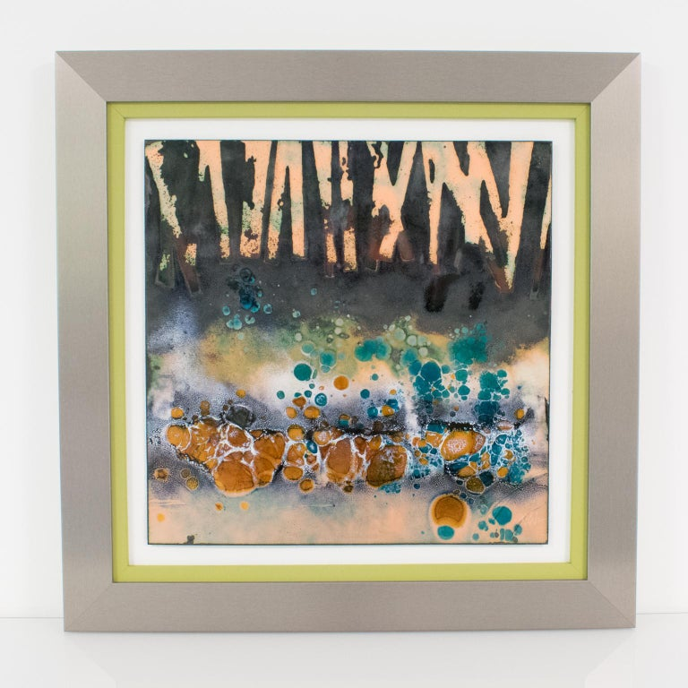 Abstract Judaica Enamel Mounted Wall Panel Plaque Artwork by George Welch For Sale 3