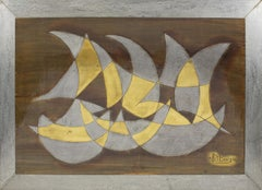 Brutalist Sailboats Metal Wall Art Sculpture Panel by Jacques Potage