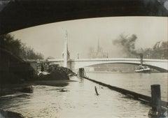 Flood of the River Seine in Paris circa 1930  - Silver Gelatin B & W Photograph
