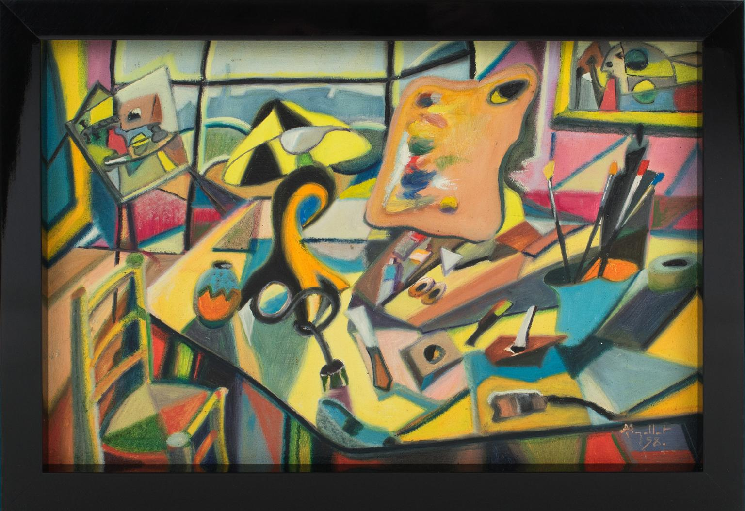 The Painter's Studio Colorful Post-Cubist Oil Painting by A. Rigollot