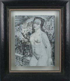 Nude with a Bird Eglomise Mirrored Glass Engraved Panel by Leon Masson