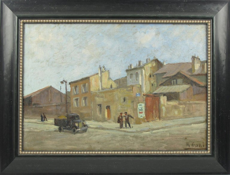 Oil on canvas painting signed by Italian artist Renzo Gori (1911-1998), featuring an urban street scene probably in France, signed bottom right corner. Contemporary framed in an elegant black wood textured pattern frame with gilded