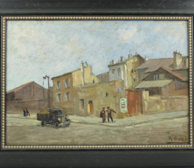 French Urban Street Scene Oil on Canvas Painting by Renzo Gori For Sale 5