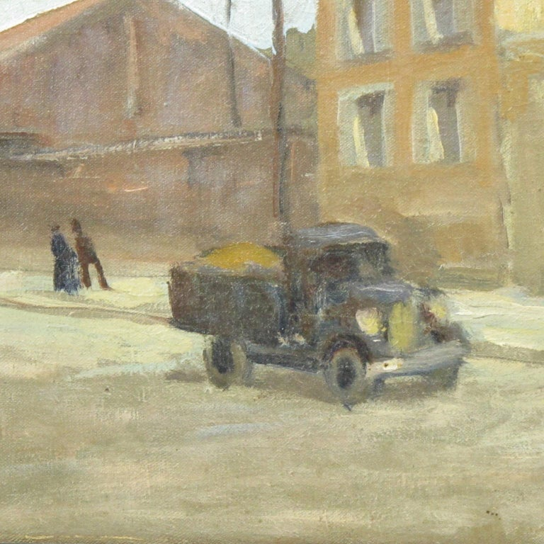 French Urban Street Scene Oil on Canvas Painting by Renzo Gori For Sale 6